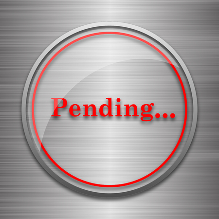rejection: Pending icon. Internet button on metallic background. Stock Photo