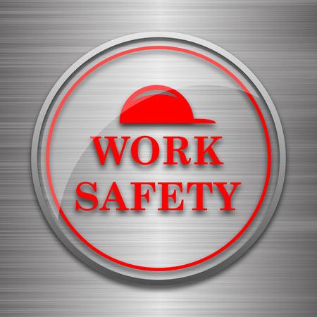 dangerous work: Work safety icon. Internet button on metallic background. Stock Photo