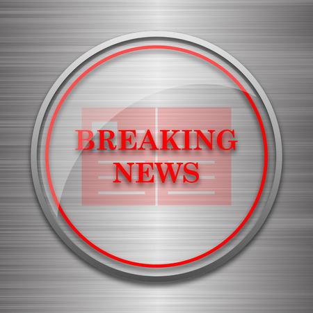 newsflash: Breaking news icon. Internet button on metallic background.