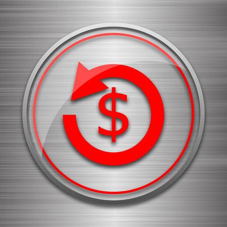 Refund icon. Internet button on metallic background. Stock Photo