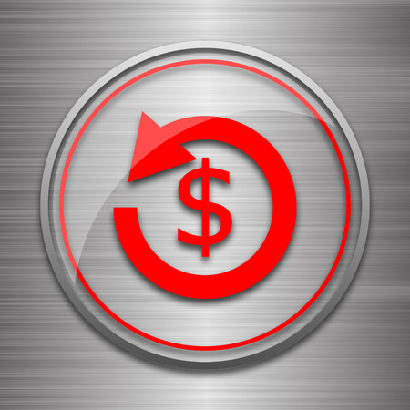 refunds: Refund icon. Internet button on metallic background. Stock Photo