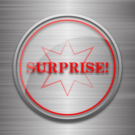 amazement: Surprise icon. Internet button on metallic background.