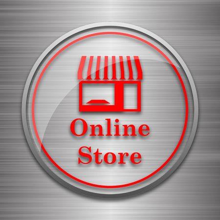 mall signs: Online store icon. Internet button on metallic background.