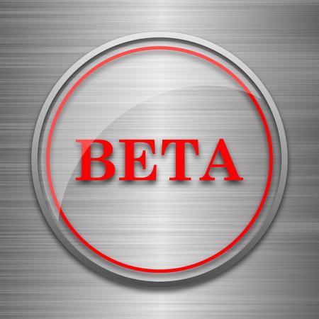beta: Beta icon. Internet button on metallic background. Stock Photo