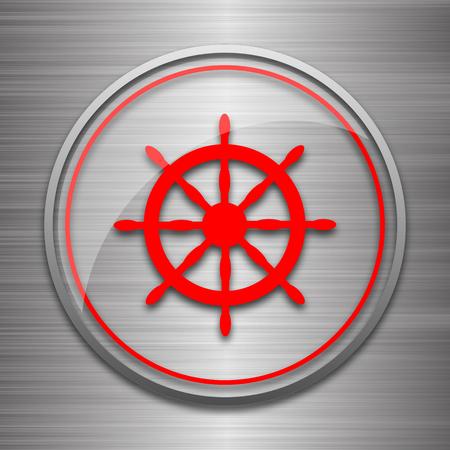 piloting: Nautical wheel icon. Internet button on metallic background.