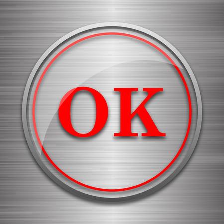 metallic: OK icon. Internet button on metallic background. Stock Photo