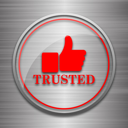 trusted: Trusted icon. Internet button on metallic background.