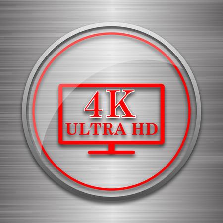 ultra: 4K ultra HD icon. Internet button on metallic background.