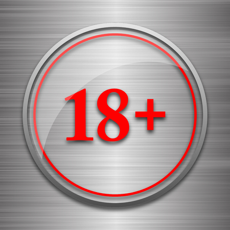 information technology law: 18 plus icon. Internet button on metallic background.