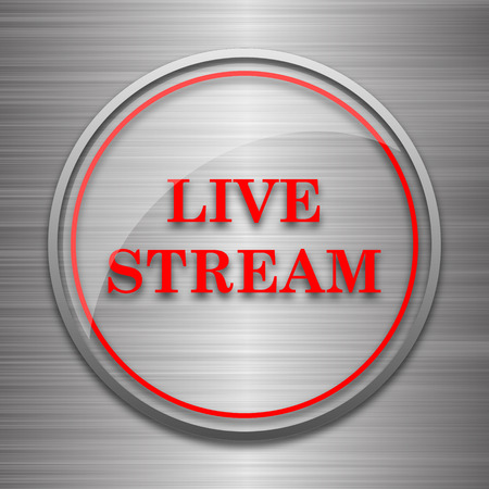 news cast: Live stream icon. Internet button on metallic background.