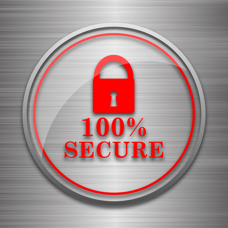 trusty: 100 percent secure icon. Internet button on metallic background.