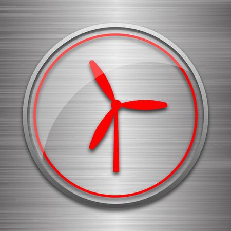 metallic: Windmill icon. Internet button on metallic background. Stock Photo
