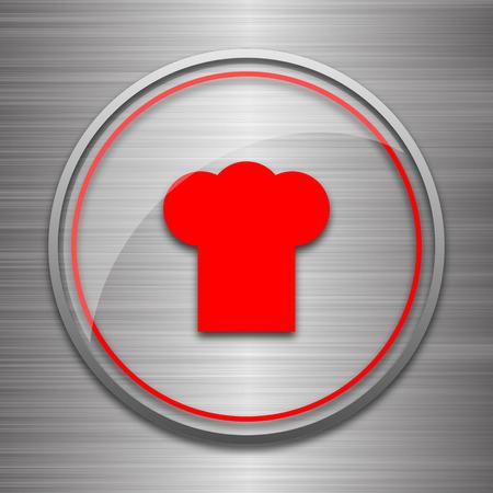 flavored: Chef icon. Internet button on metallic background. Stock Photo