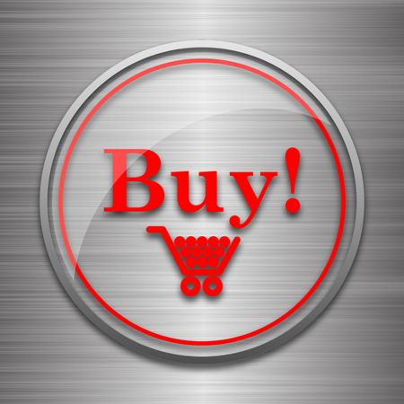 buy icon: Buy icon. Internet button on metallic background.