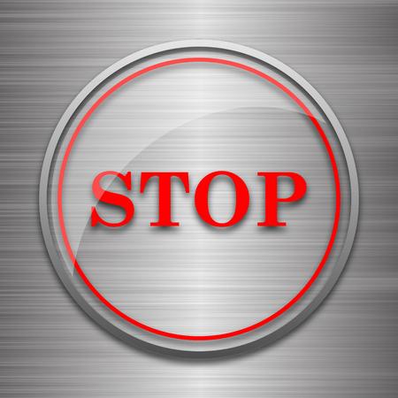 run off: Stop icon. Internet button on metallic background. Stock Photo