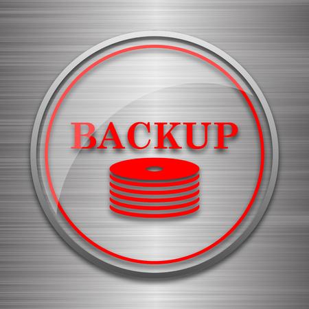 metallic: Back-up icon. Internet button on metallic background.