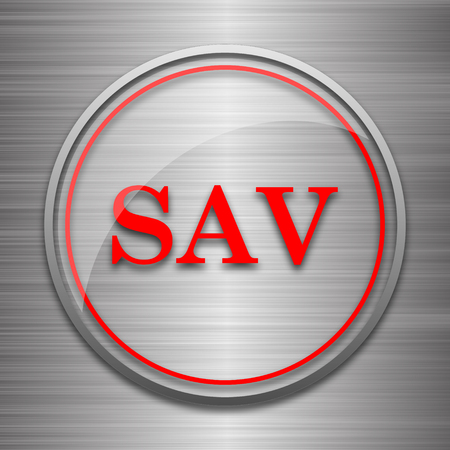 assessed: SAV icon. Internet button on metallic background. Stock Photo