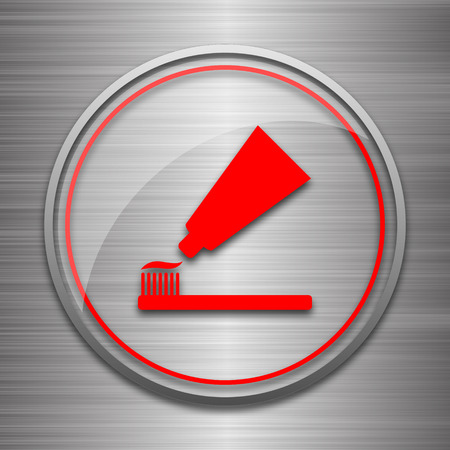 tooth paste: Tooth paste and brush icon. Internet button on metallic background.