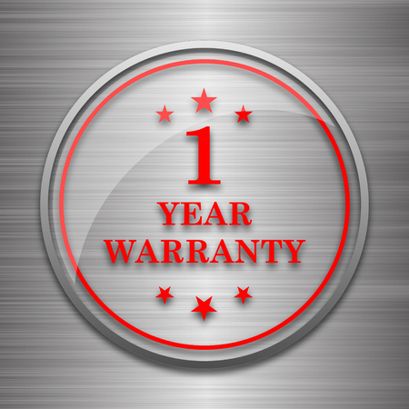 1 year warranty: 1 year warranty icon. Internet button on metallic background.