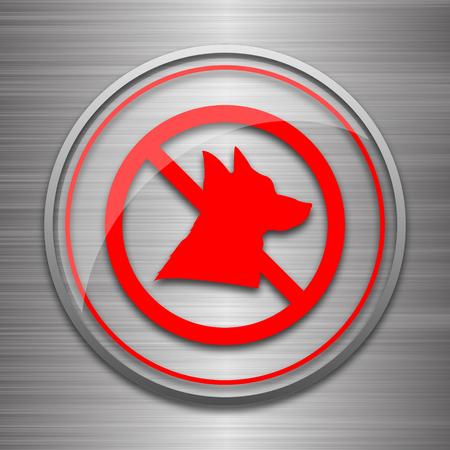 refused: Forbidden dogs icon. Internet button on metallic background.