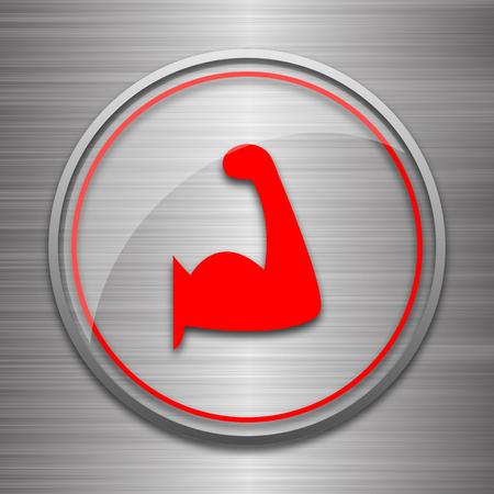 metallic: Muscle icon. Internet button on metallic background.