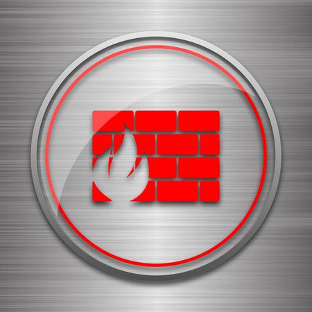 metallic: Firewall icon. Internet button on metallic background.