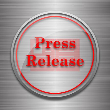 release: Press release icon. Internet button on metallic background.