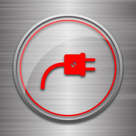 metallic: Plug icon. Internet button on metallic background.