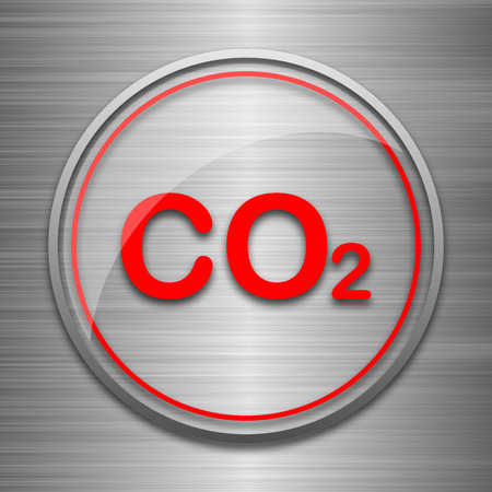 co2 emissions: CO2 icon. Internet button on metallic background.