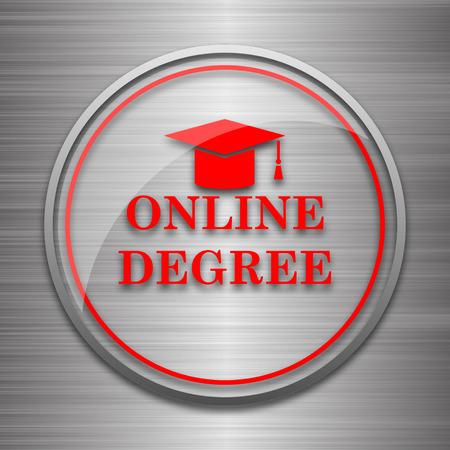 online degree: Online degree icon. Internet button on metallic background. Stock Photo