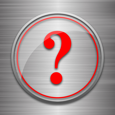 inquiry: Question mark icon. Internet button on metallic background.