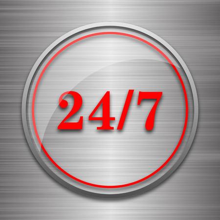 24 7: 24 7 icon. Internet button on metallic background.