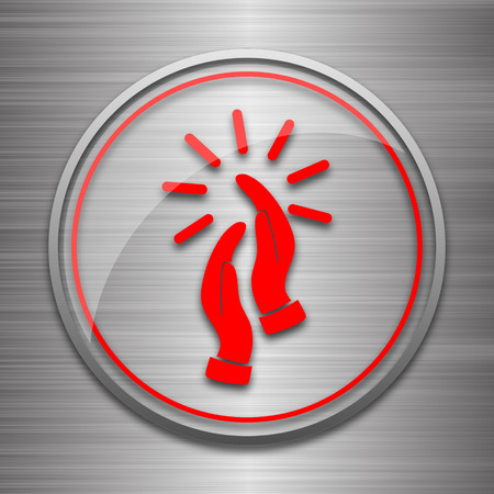 applaud: Applause icon. Internet button on metallic background. Stock Photo