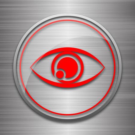 optician: Eye icon. Internet button on metallic background. Stock Photo
