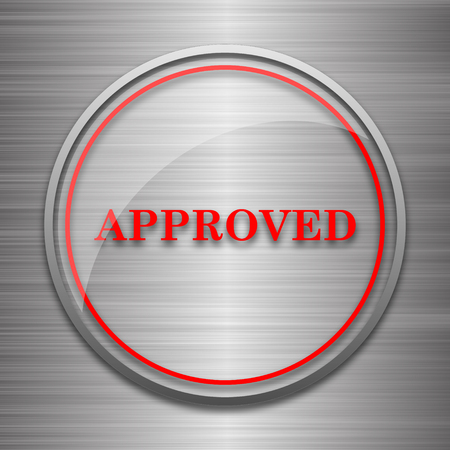 approved icon: Approved icon. Internet button on metallic background. Stock Photo