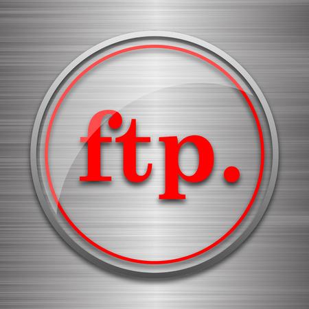 ftp: ftp. icon. Internet button on metallic background. Stock Photo