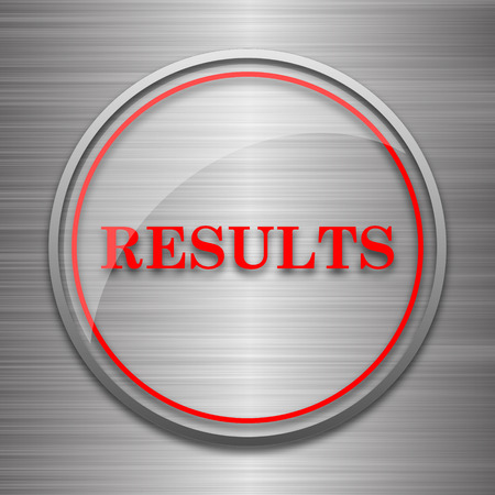consequence: Results icon. Internet button on metallic background. Stock Photo