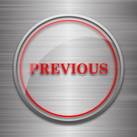 metallic: Previous icon. Internet button on metallic background. Stock Photo