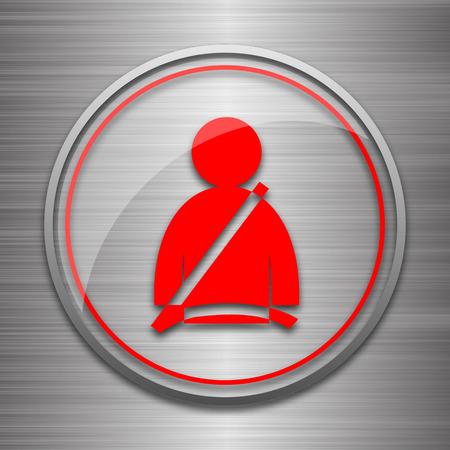 safety belt: Safety belt icon. Internet button on metallic background.