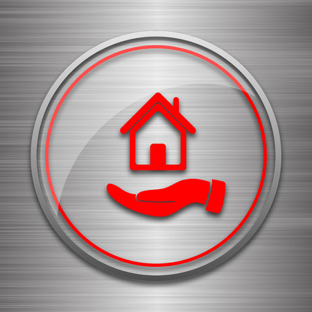 hand holding house: Hand holding house icon. Internet button on metallic background. Stock Photo