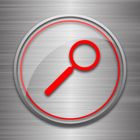 metallic: Search icon. Internet button on metallic background.