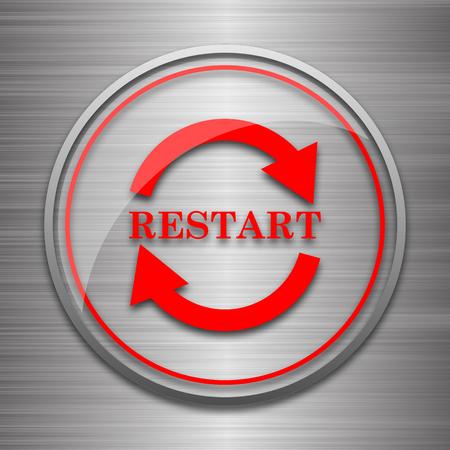 restart: Restart icon. Internet button on metallic background.