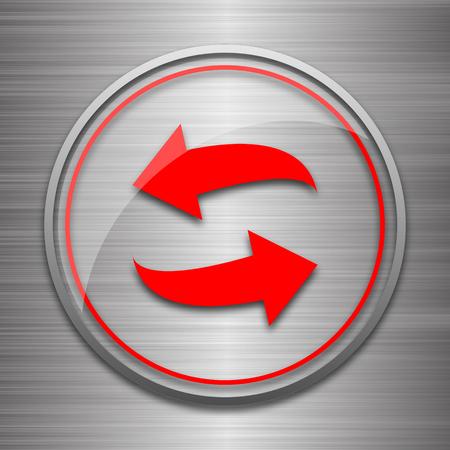 swap: Swap icon. Internet button on metallic background. Stock Photo