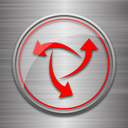 succes: Change icon. Internet button on metallic background.