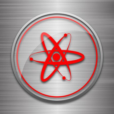 gamma radiation: Atoms icon. Internet button on metallic background.