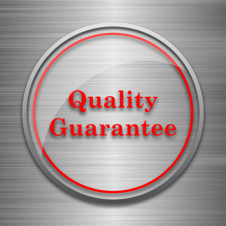 best security: Quality guarantee icon. Internet button on metallic background.