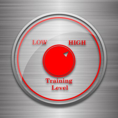 efficacy: Training level icon. Internet button on metallic background. Stock Photo