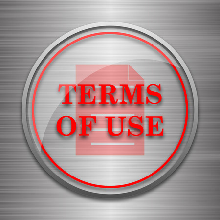 use regulation: Terms of use icon. Internet button on metallic background.