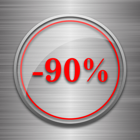 90: 90 percent discount icon. Internet button on metallic background. Stock Photo