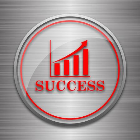 metallic: Success icon. Internet button on metallic background.